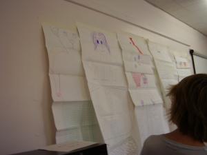Dr Marion Endt-Jones with 'Exquisite Corpse' drawings made by Year 9 students from Liverpool, May 2006